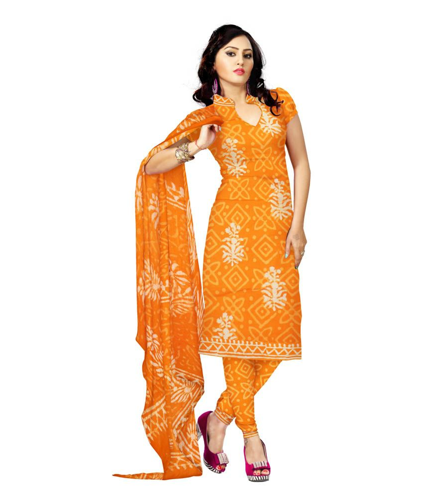 Unnati Silks Yellow Handcrafted Cotton Dress Material
