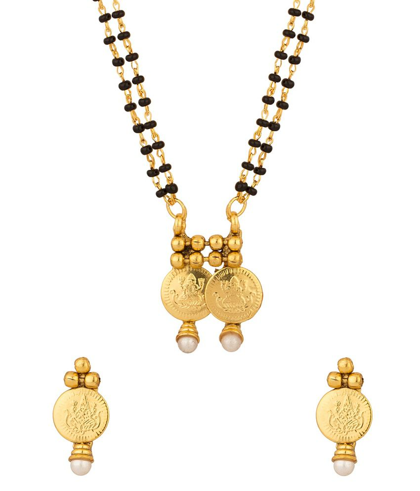 Voylla Sparkling Double Chain Coin Collection Mangalsutra Set