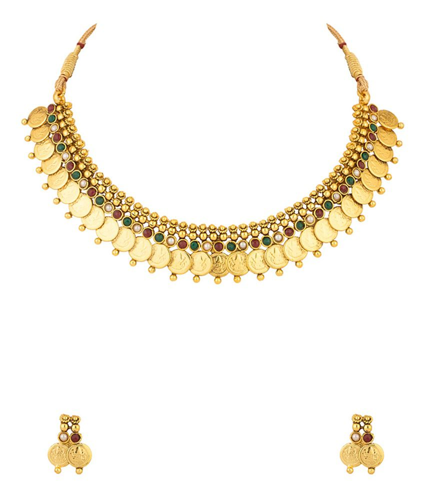 Voylla Yellow Gold Plated Necklace Set With Pearls And Colored Stones