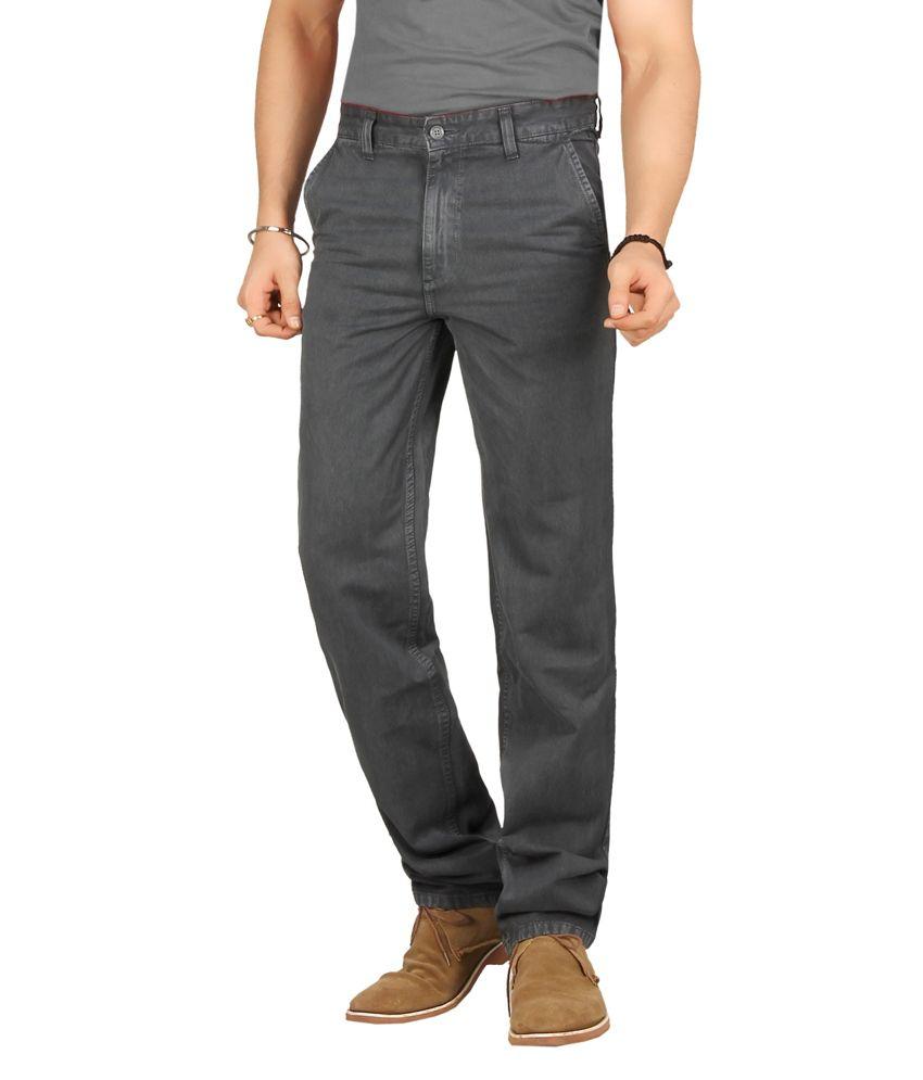 Warewell Grey Regular Fit High Rise Denim Jean For Men