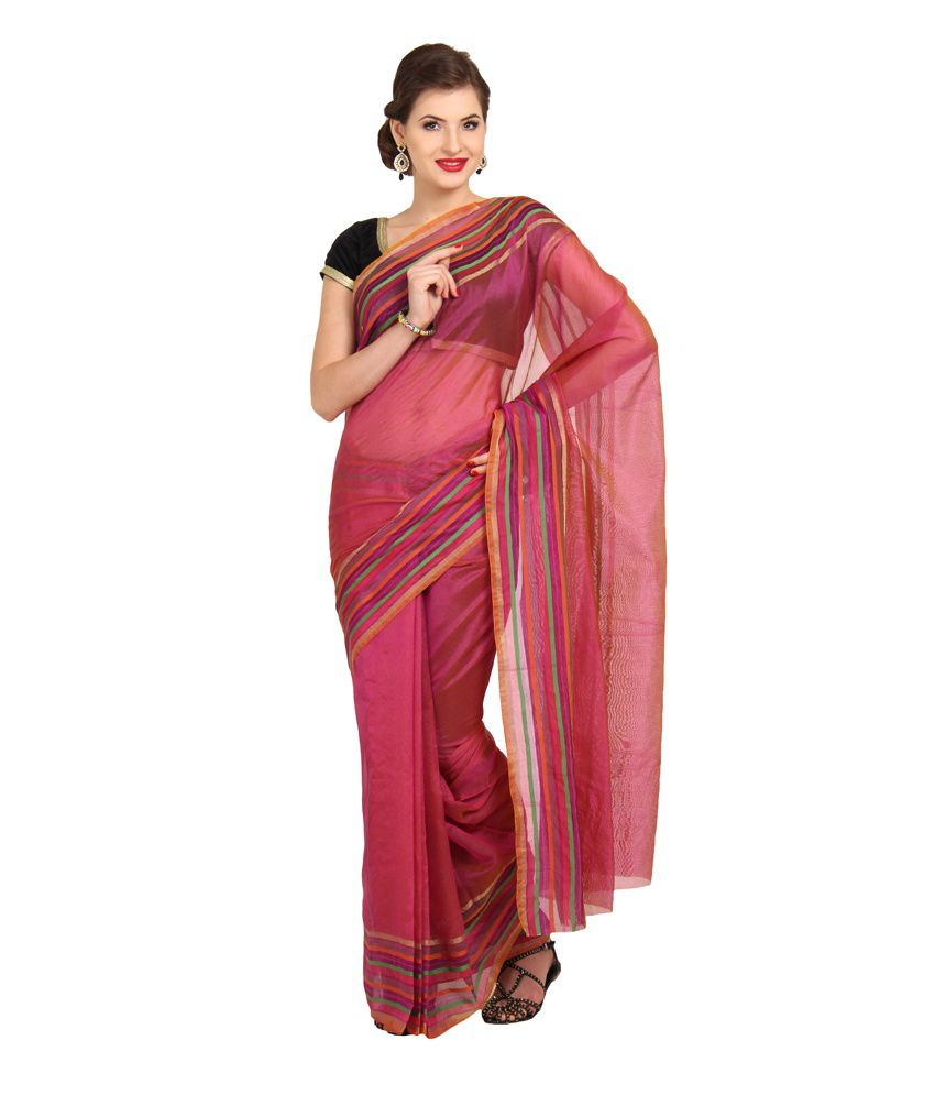 Boondh Pink Solid Weaved Detail Synthetic Net Traditional Saree