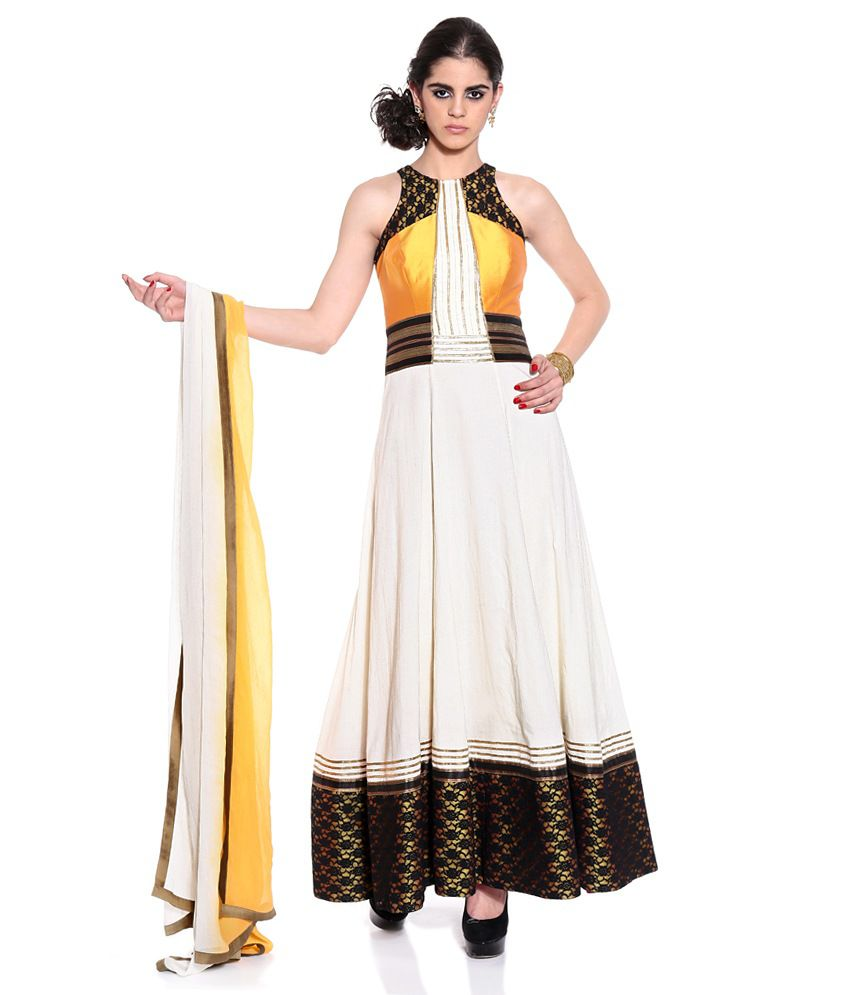 Shivani&joy White Solid Cotton Stitched Anarkali Salwar Suit