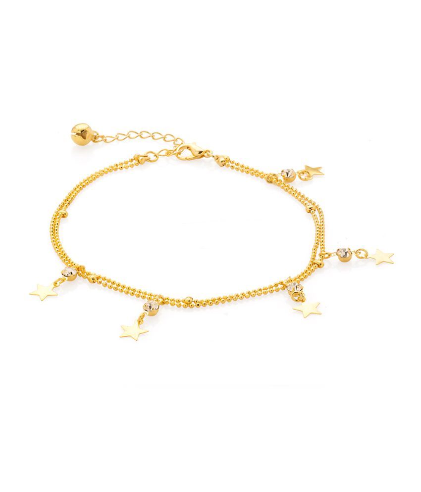 Voylla Scintillating Single Link Anklet On Gold Tone With CZ And Stars