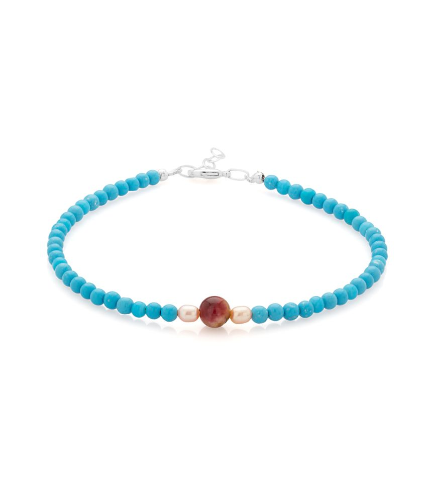 Voylla Single Beaded Anklet With Turquoise Beads