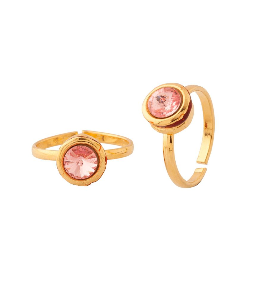 Voylla Sparkling Pair Of Toe Rings Embedded With Pink Color Stone And Red Enamel