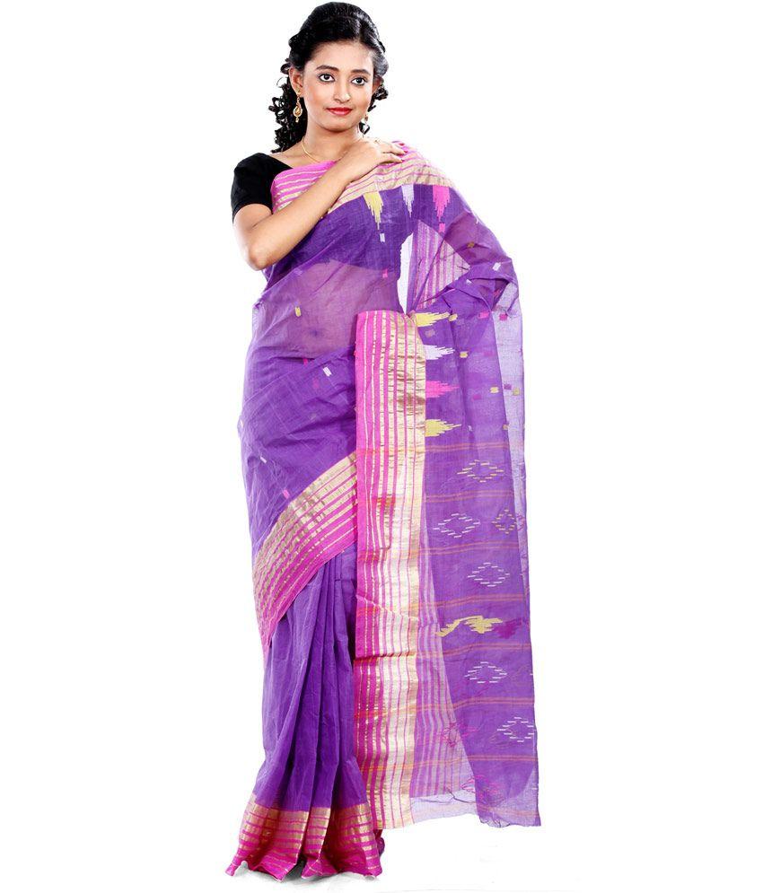 B3Fashions Purple Cotton Bengal Tant Saree