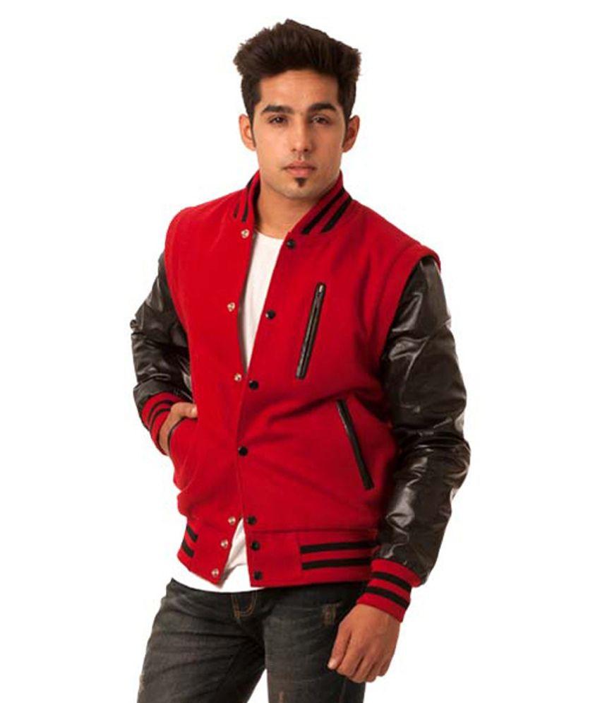 Caliber India Letterman Varsity Red Baseball Jacket - Buy Caliber