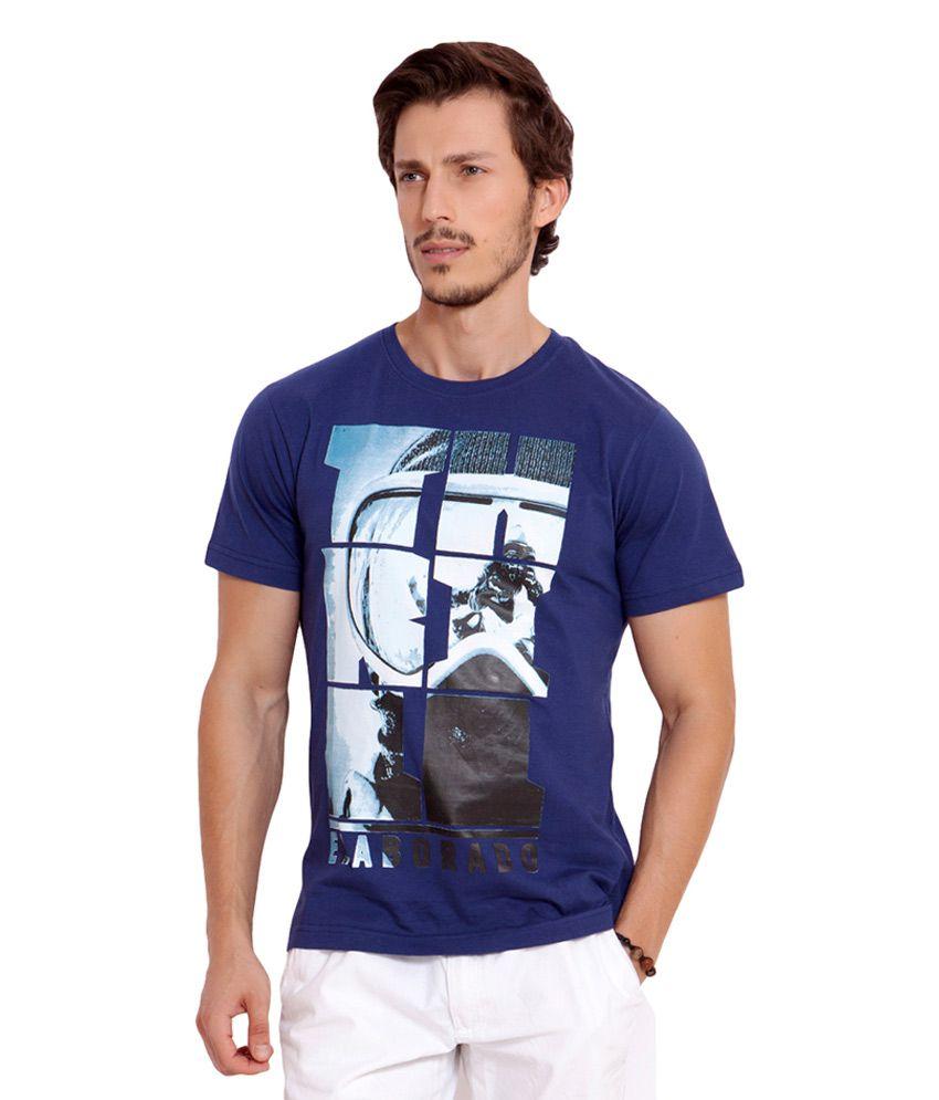 Elaborado Navy Half Sleeves Cotton Round Neck T-shirt