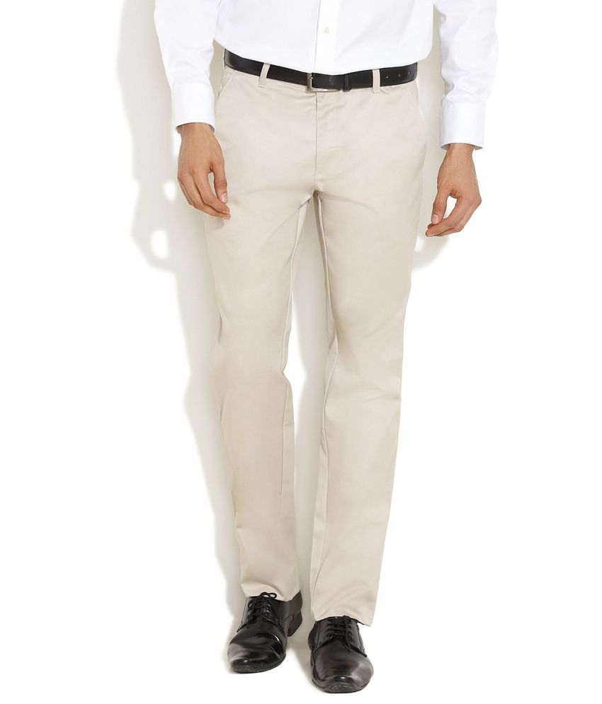 Indigo Nation Beige Corporate Staple Flat-Front Trousers