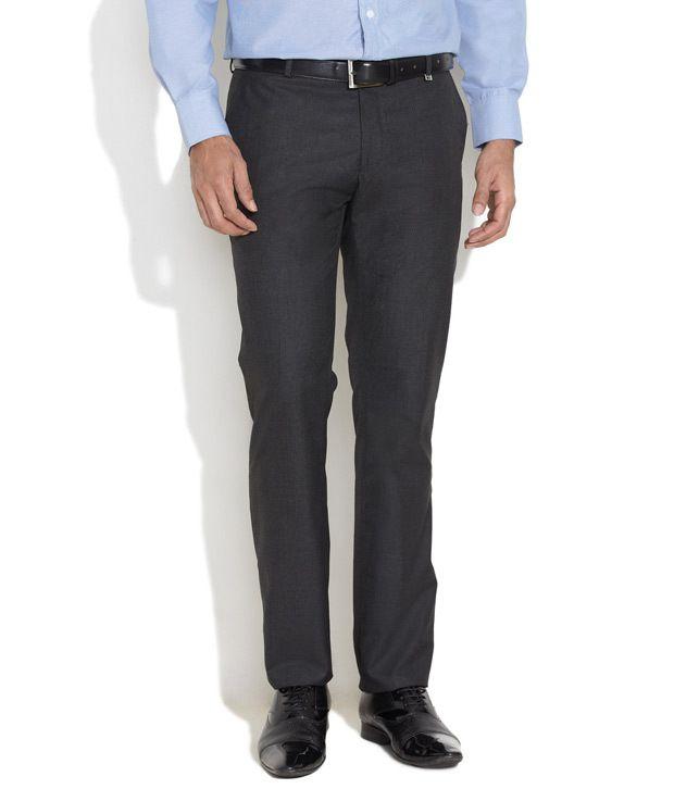 Indigo Nation Light Grey Tonal Checkered Flat-Front Trousers