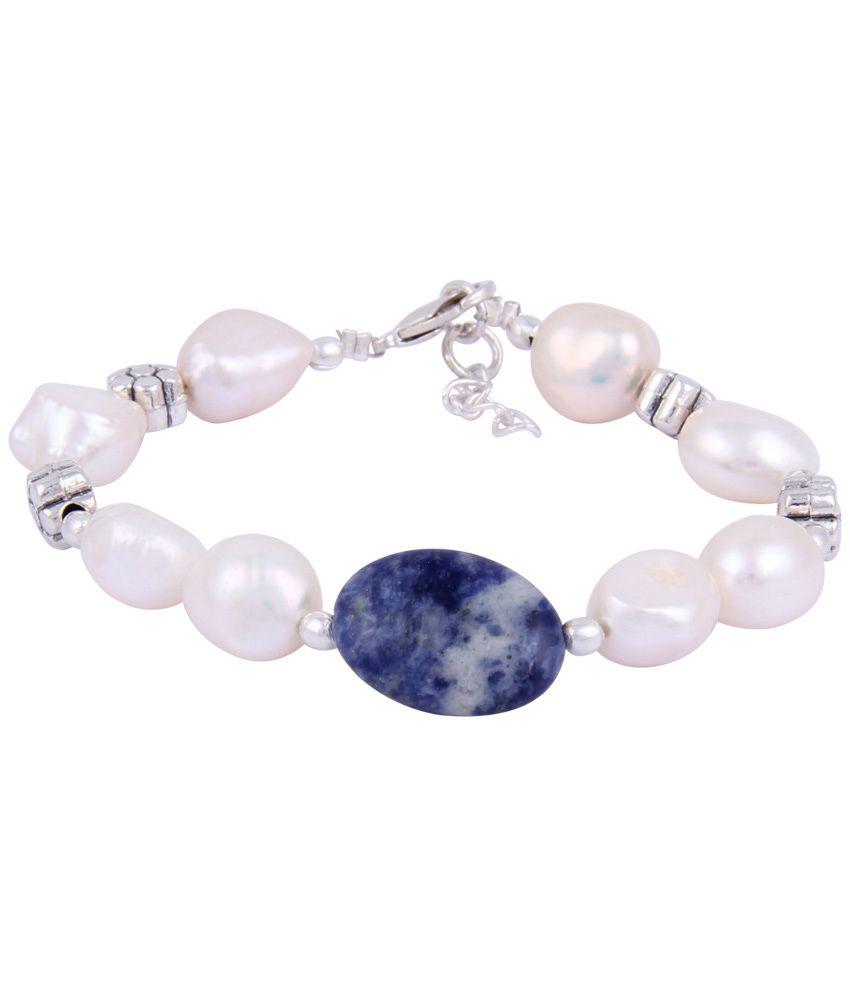 Pearlz Ocean Amazing White & Blue Beaded Bracelet