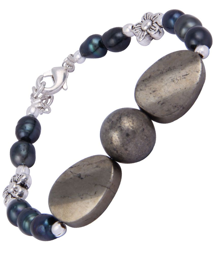 Pearlz Ocean Golden Tassel Gray Bracelet