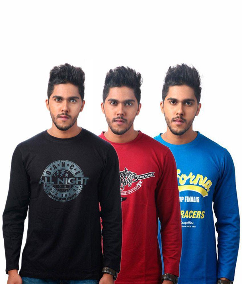 Tekki Maroon-blue-black Pack Of 3 T Shirts