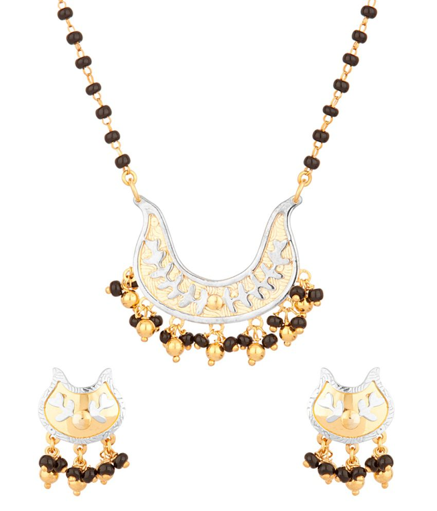 Voylla 22kgold And Sterling Silver Mangalsutra Set In U-shape
