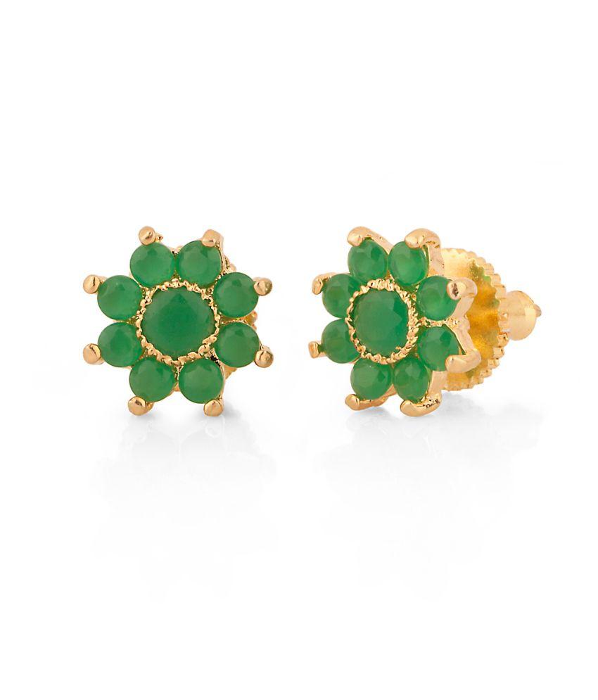 Voylla Darling Pair Of Stud Earrings With Green Color Stones