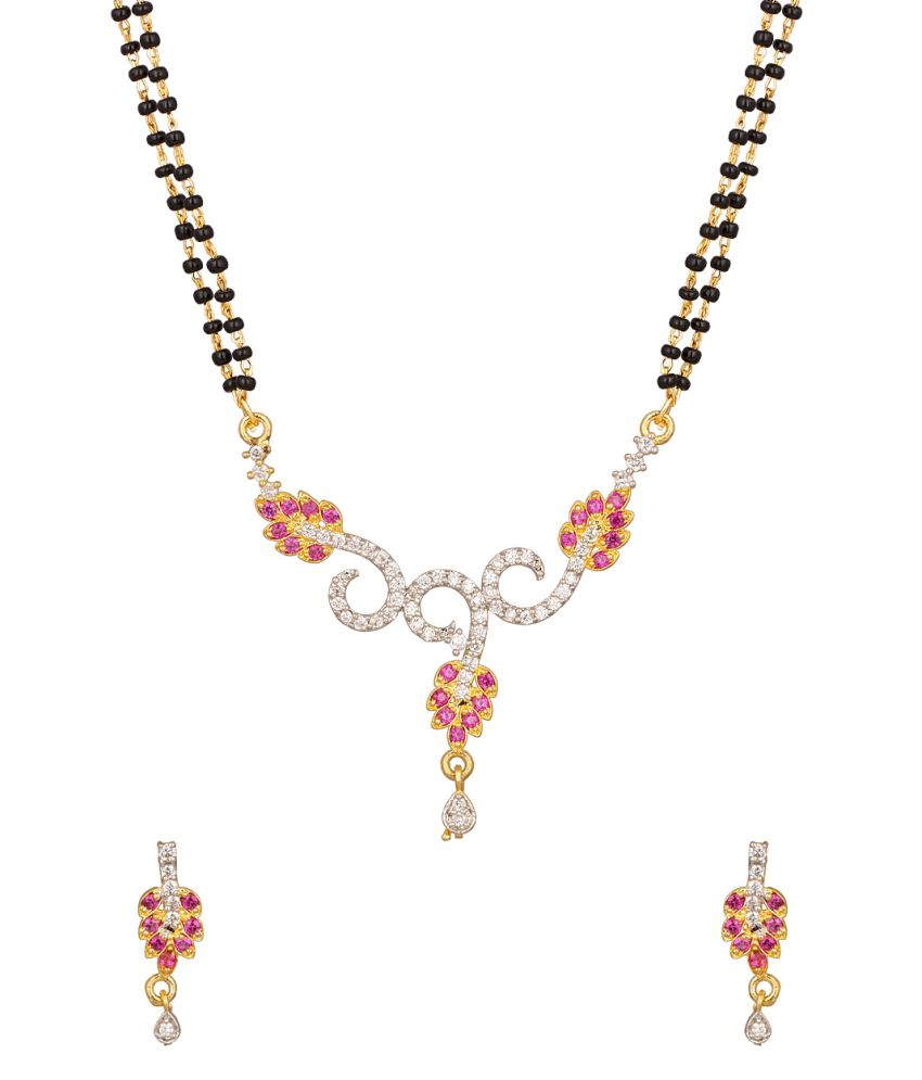 Voylla Exclusive Double Chain Mangalsutra Set Peppered With Cz With Leafy Motif