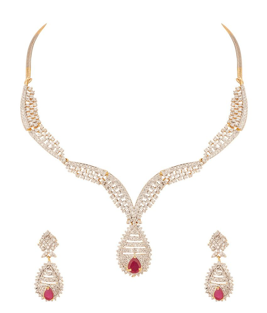 Voylla Glamorous Choker Necklace Set With Cz And Pink Color Stones