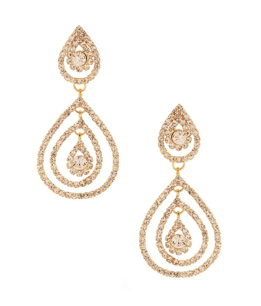 Voylla Glistening Pair Of Dangler Earrings With Cz Stones