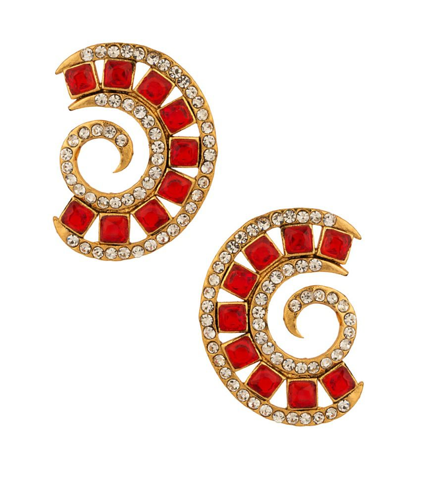 Voylla Luscious Pair Of C- Shape Earrings With Cz And Red Color Stones