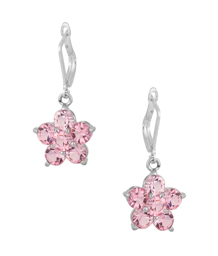 Voylla Pair Of Earrings In Floral Shape With Pink Colored Stones