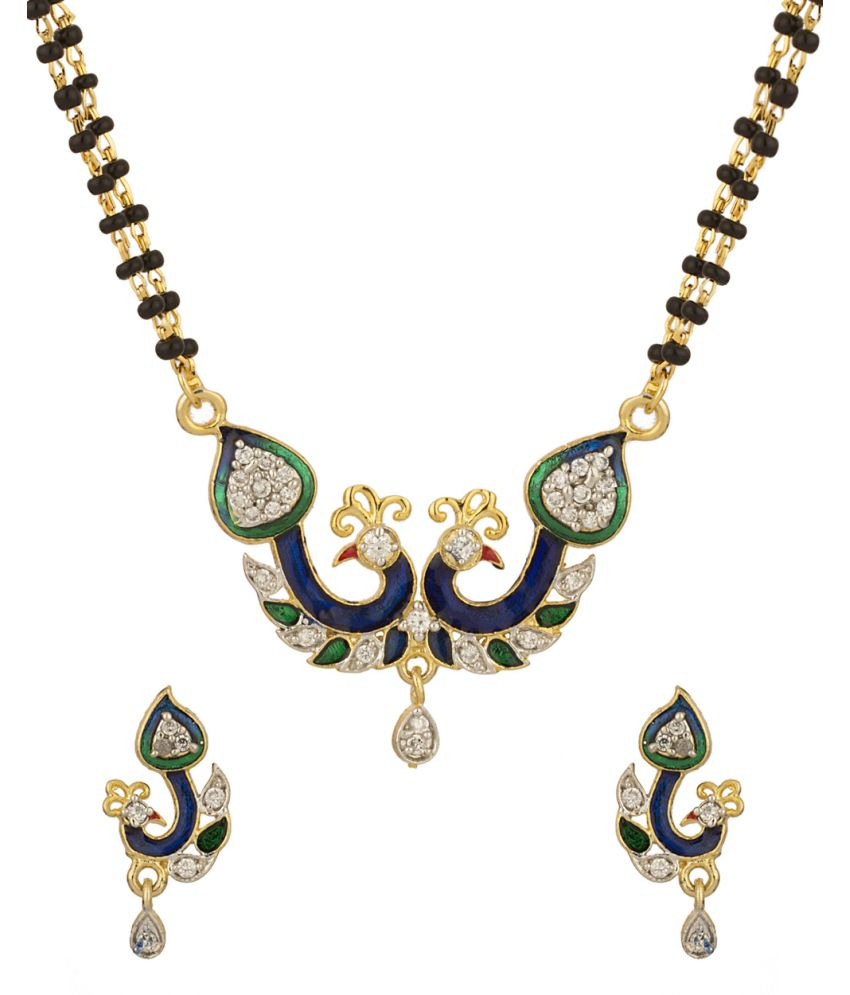 Voylla Peacock Motif Double Chain Mangalsutra Set With Enamel Work