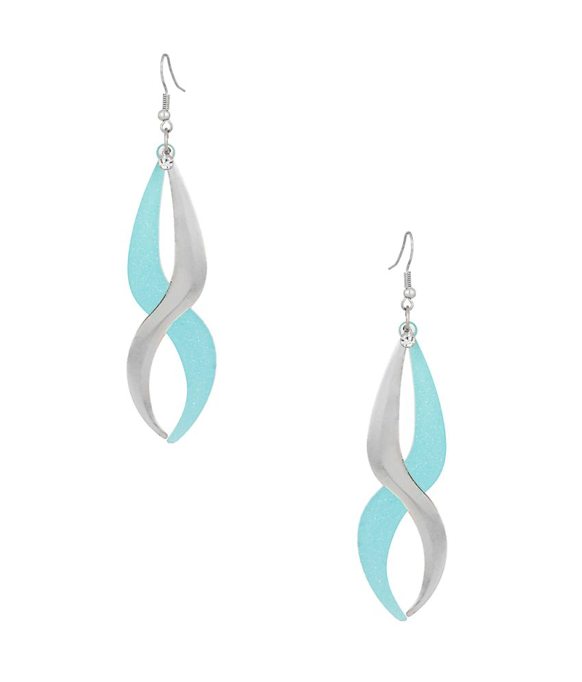 Voylla Sober Pair Of Dangler Earrings In Blue Color With Cz