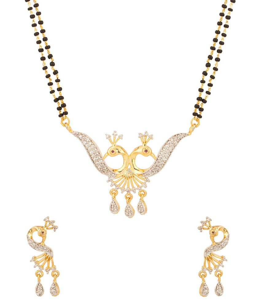 Voylla Sparkling Peacock Motif Double Chain Mangalsutra Set With Cz