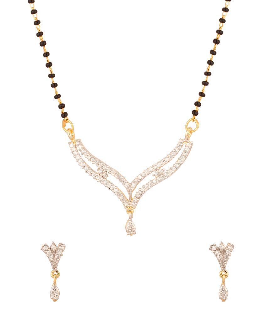 Voylla Yellow Gold Plated V-shape Single Chain Mangalsutra Set