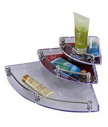 Delight Acrylic 3-pc Mini Corner Rack/Shelf (5,7,9 Inches) (Bathroom Cabinet/Toothbrush Holder/Toothpaste/Brush Stand/Bathroom Accessories/Set/Shelves/Rack/Washroom Accessories)