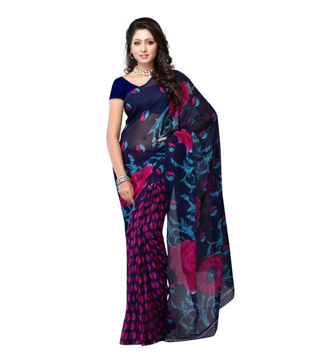 Ambaji Purple Faux Georgette Saree