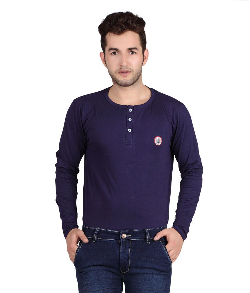 Free Spirit Purple Cotton Full Sleeves Henley T-Shirt