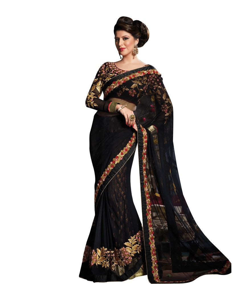 Maro Net Black Embroidered Saree Buy Maro Net Black Embroidered