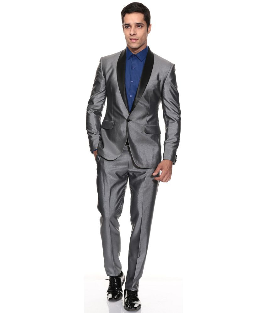 The Design Factory Men Steel Grey Suits