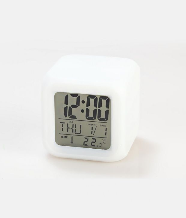 aurora cube 7 color led clock with lcd digital display. Black Bedroom Furniture Sets. Home Design Ideas