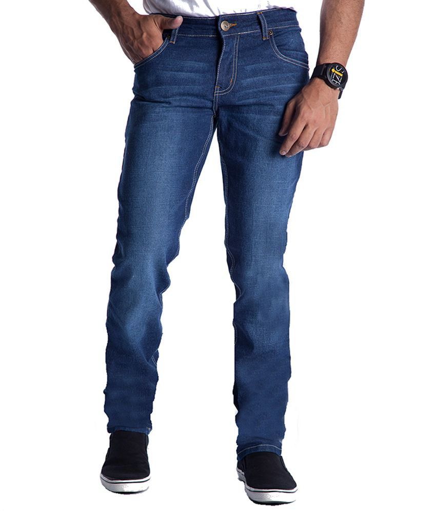 Eurojeans Blue Faded Cotton Blend Jeans