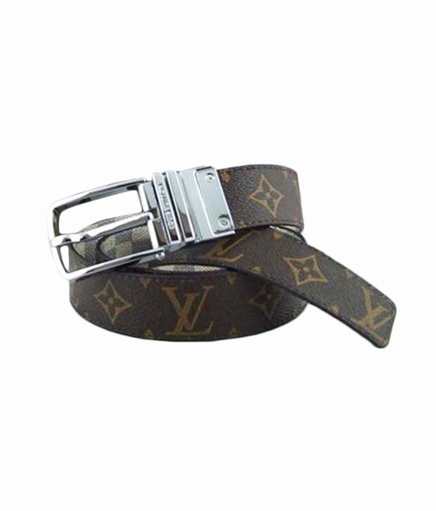 Kalon Brown Lv Boston Reversible Leather Belt
