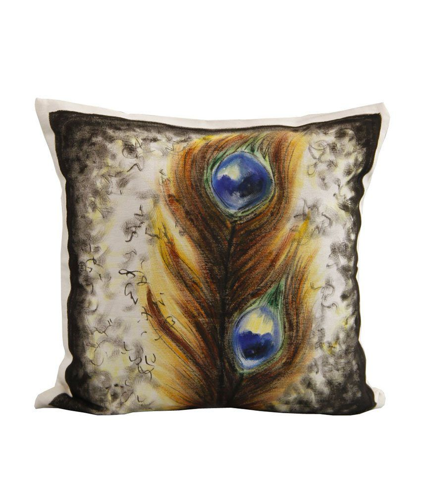 Rang Rage Peacock Feather White Cotton Hand Painted Cushion Cover