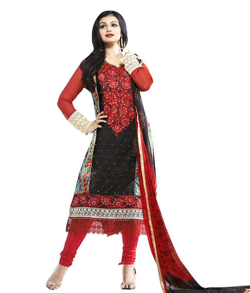 Vibes Black Georgette Unstitched Dress Material