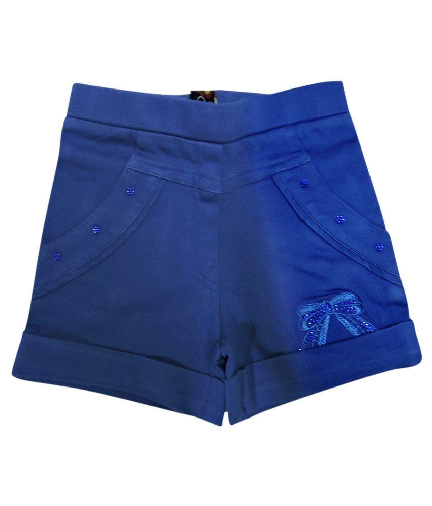 Ever Wear Satin Lycra Royal Blue Shorts For Kids
