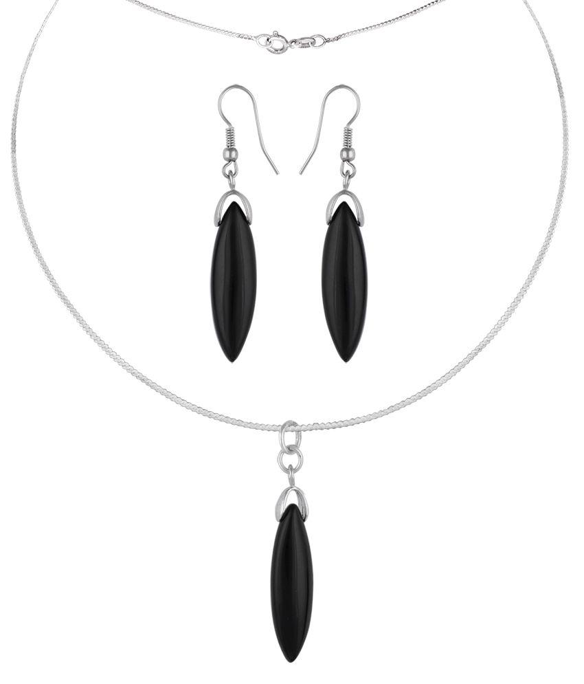 Pearlz Ocean Flamed 2.5 Inch Black Obsidian Beads Pendant Set