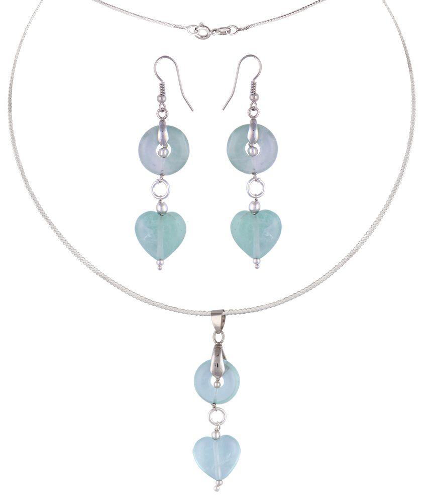 Pearlz Ocean Hearty Affair Multi Fluorite Beads Pendant Set