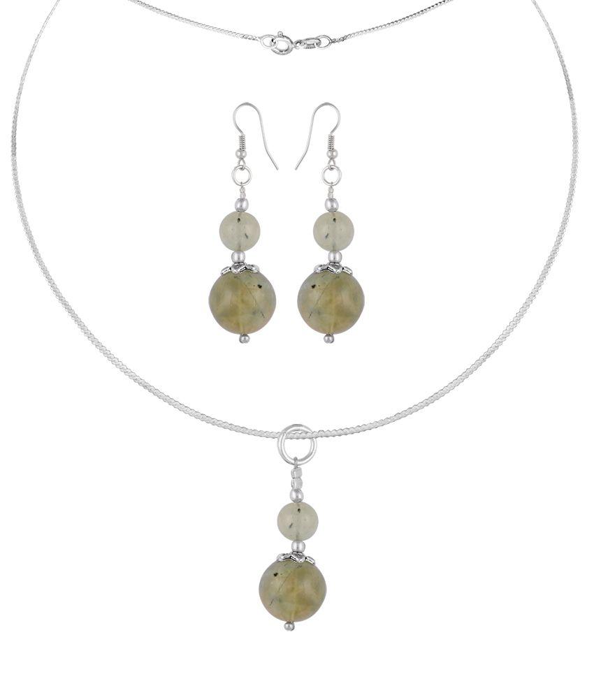 Pearlz Ocean Tansy 2.5 Inch Prehnite Beads Pendant Set
