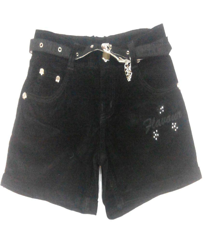 Piggy N Wiggy Black Shorts For Girls