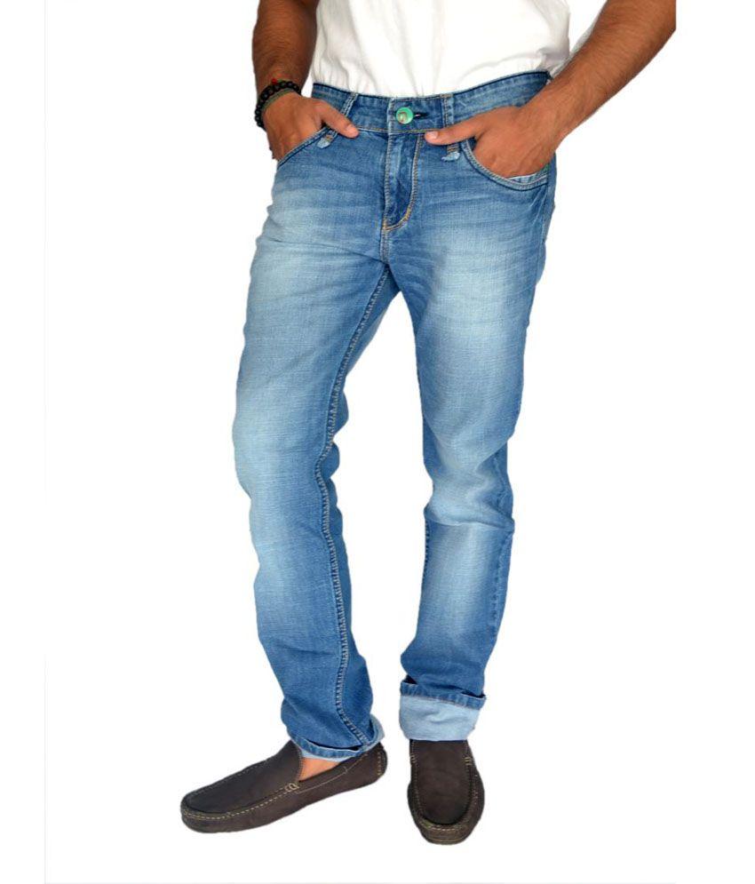 Londonhouze Blue Cotton Regular Fit Jeans