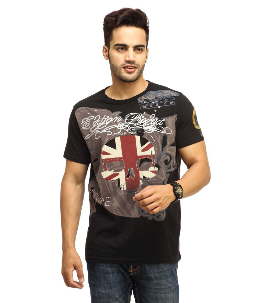 Gesture Black Cotton T-shirt