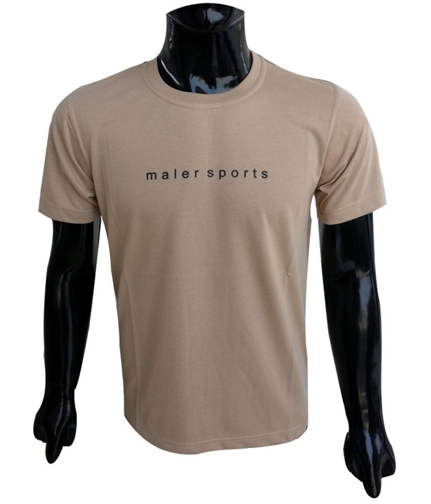 Msports Light Brown Round Neck T Shirt