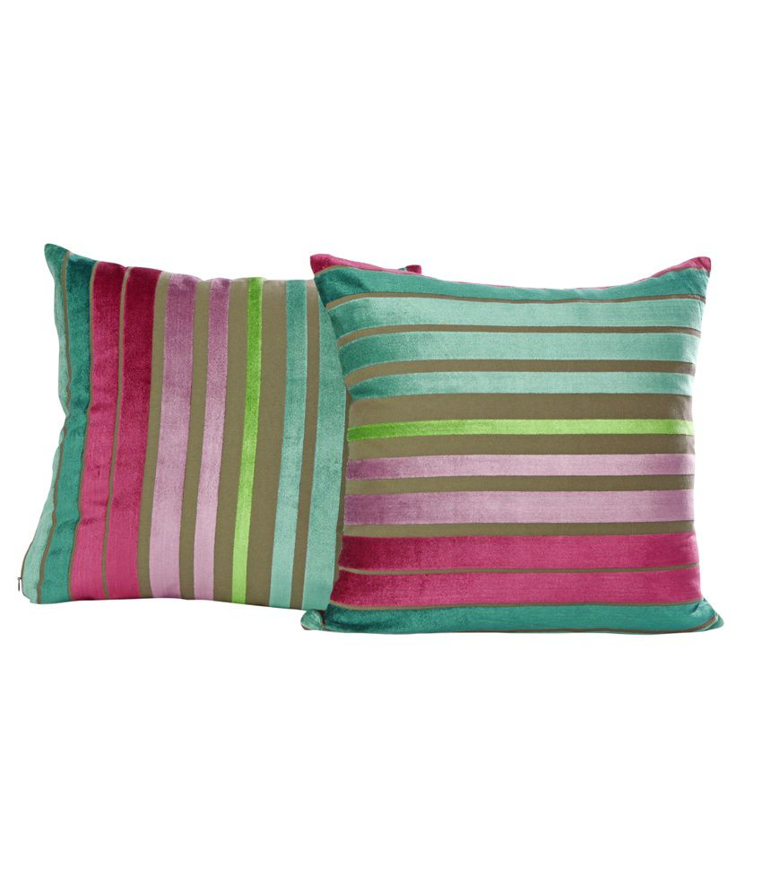 Just Linen Pair Of Striped Multicolored Velvet Cushion Covers