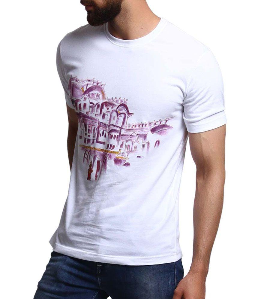 Rang Rage - Haveli - White Cotton Men T- Shirt - Handpainted