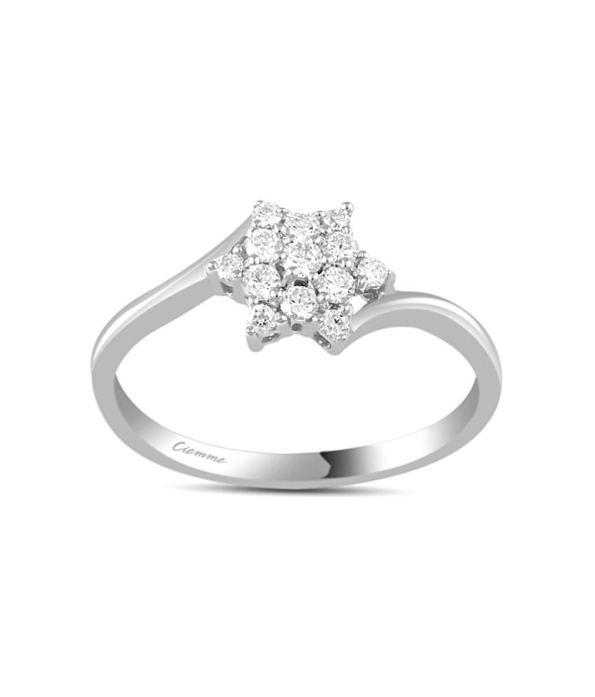 Ciemme 925 Sterling Silver Star Shape 0.46 Ct Cz Studded Ring