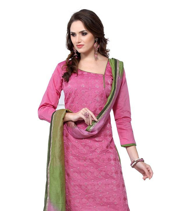 Cotton Bazaar Pink Chanderi Unstitched Dress Material